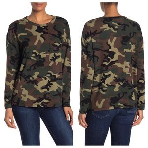 New Sanctuary Camo Pocket Crewneck Pullover